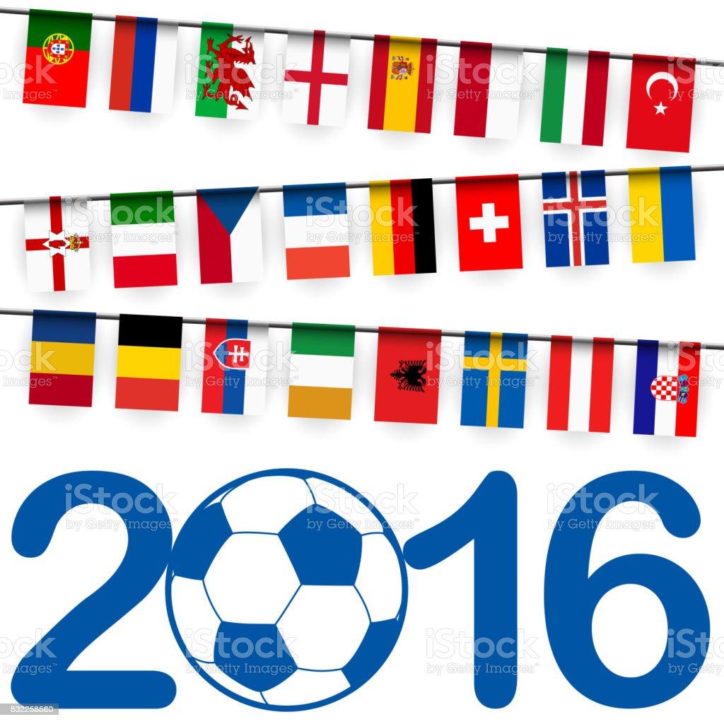 guirnalda equipos partido de fútbol de francia - ilustración de arte vectorial