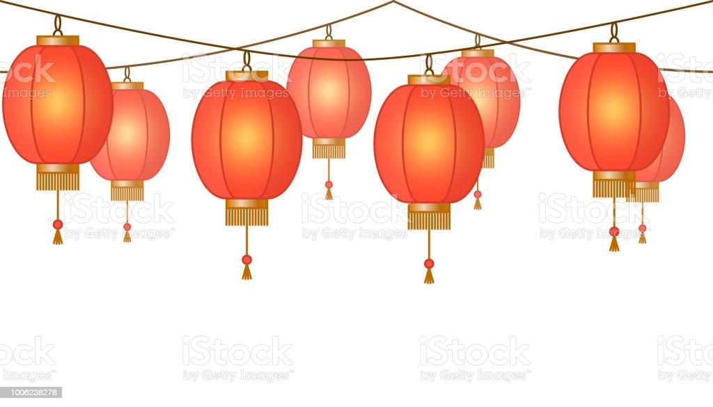 Guirlande Avec Lanternes Chinoises Chaine Lampes De Papier