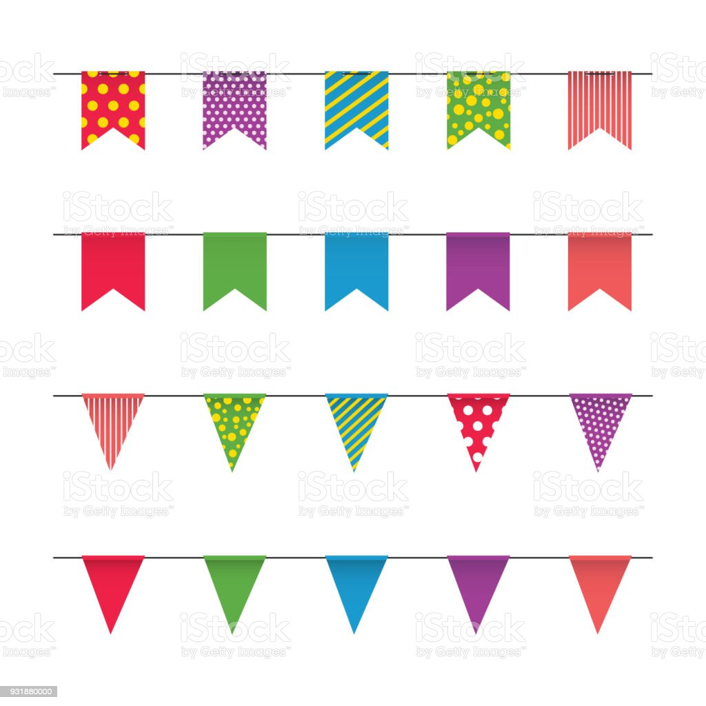 garland with colorful flags carnival or fair flags on white