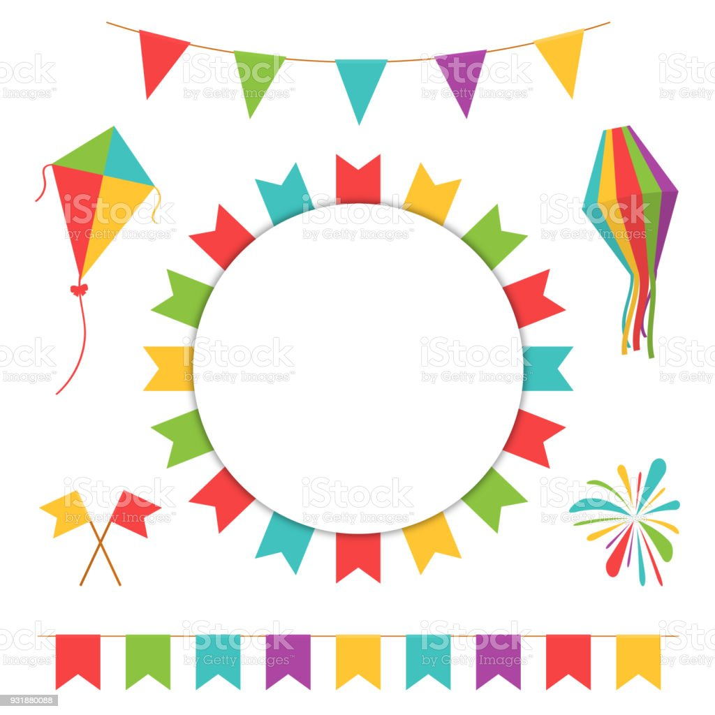 garland with colorful flags carnival or festival flags with lantern