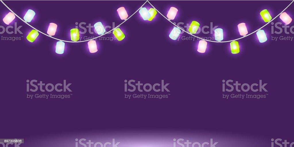 Girlande Mit Bunt Leuchtenden Lichter Oder Lampen Isolierte