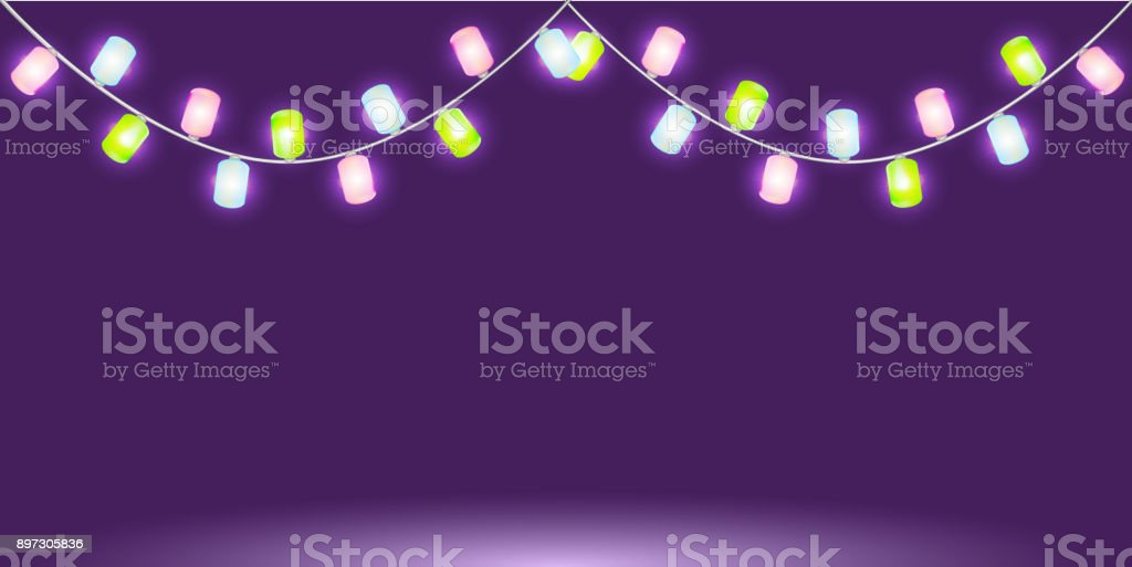 Garland with colorful glowing lights or lamps. Isolated vector design element  for Holiday cards, valentine's day, Christmas, New Year, birthday, party, wedding or banners. Template or mock up vector art illustration