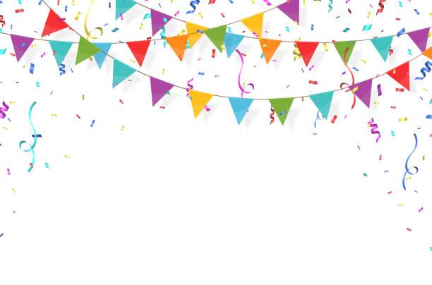 ilustraciones, imágenes clip art, dibujos animados e iconos de stock de guirnalda con banderas 1 - fiesta
