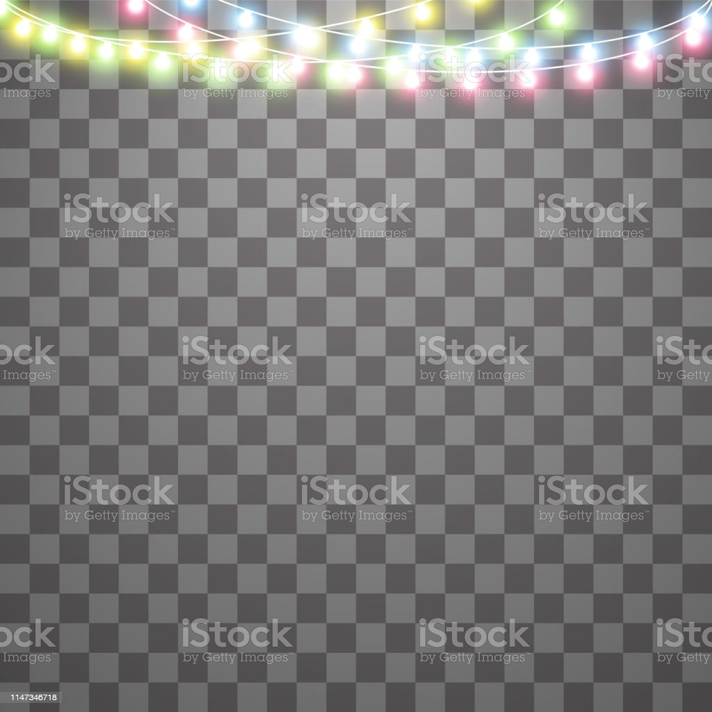 Garlands Christmas Decorations Lights Effects Isolated Vector Design