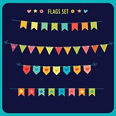 Garlands Of Festive Flags Isolated On Dark Background.