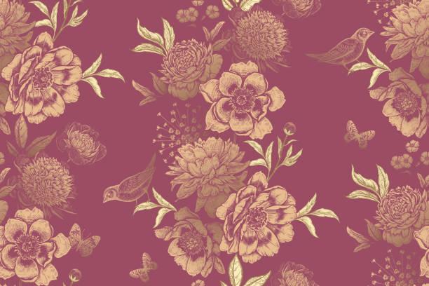 girlanden von gartenblumen, vögeln und schmetterlingen. vintage floral nahtlose muster. - gartenfolie stock-grafiken, -clipart, -cartoons und -symbole