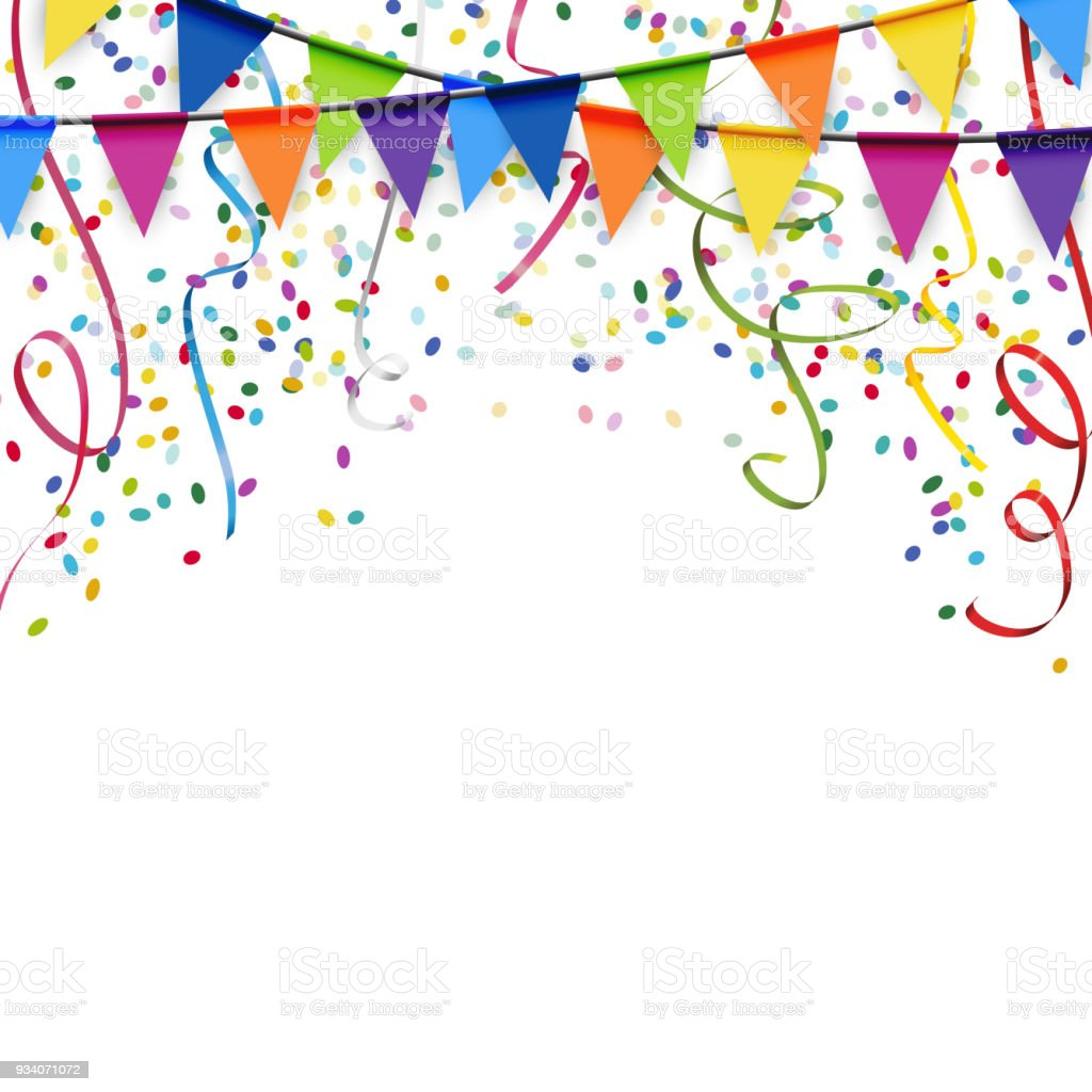 garlands, streamers and confetti background vector art illustration