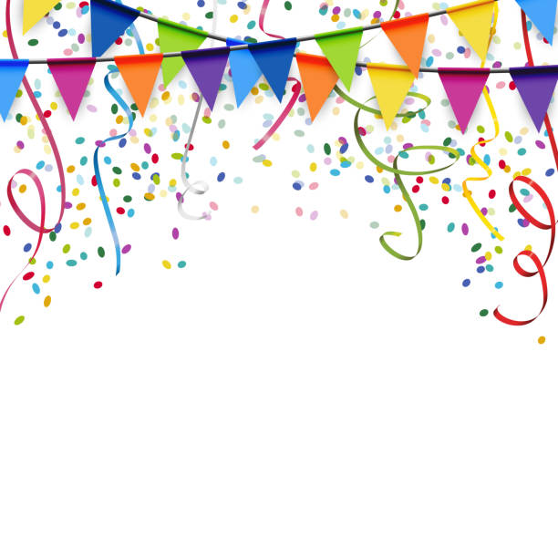garlands, streamers and confetti background colored garlands, streamers and confetti background for party or festival usage celebration stock illustrations