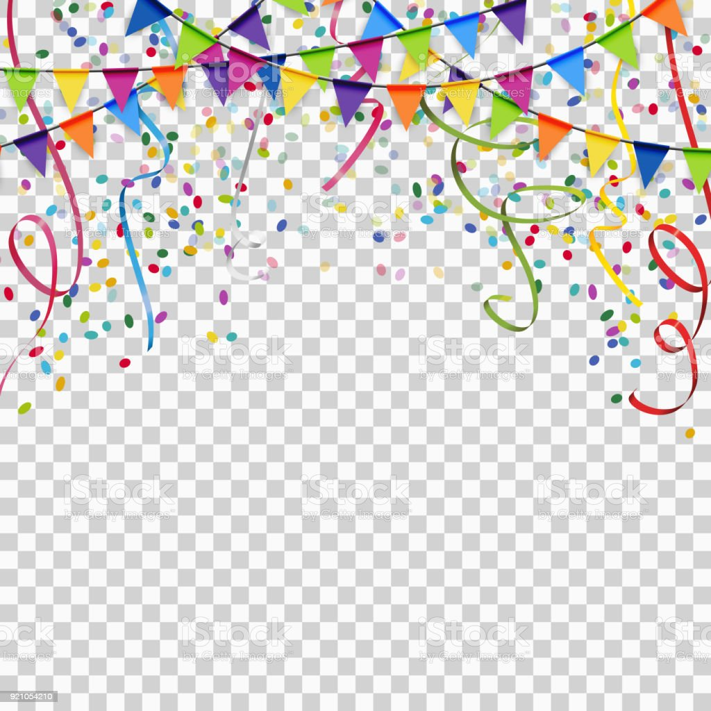 garlands, streamers and confetti background with vector transparency - Royalty-free Abrir arte vetorial