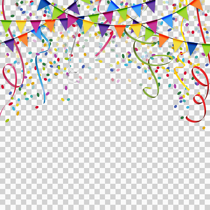 Garlands Streamers And Confetti Background With Vector Transparency - Arte vetorial de stock e mais imagens de Abrir