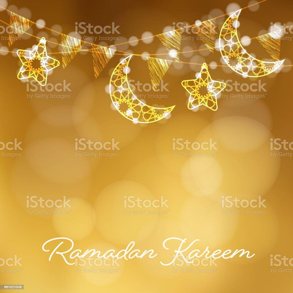 Ilustrao de garlands with decorative moons stars lights and party garlands with decorative moons stars lights and party flags vector illustration card stopboris Gallery