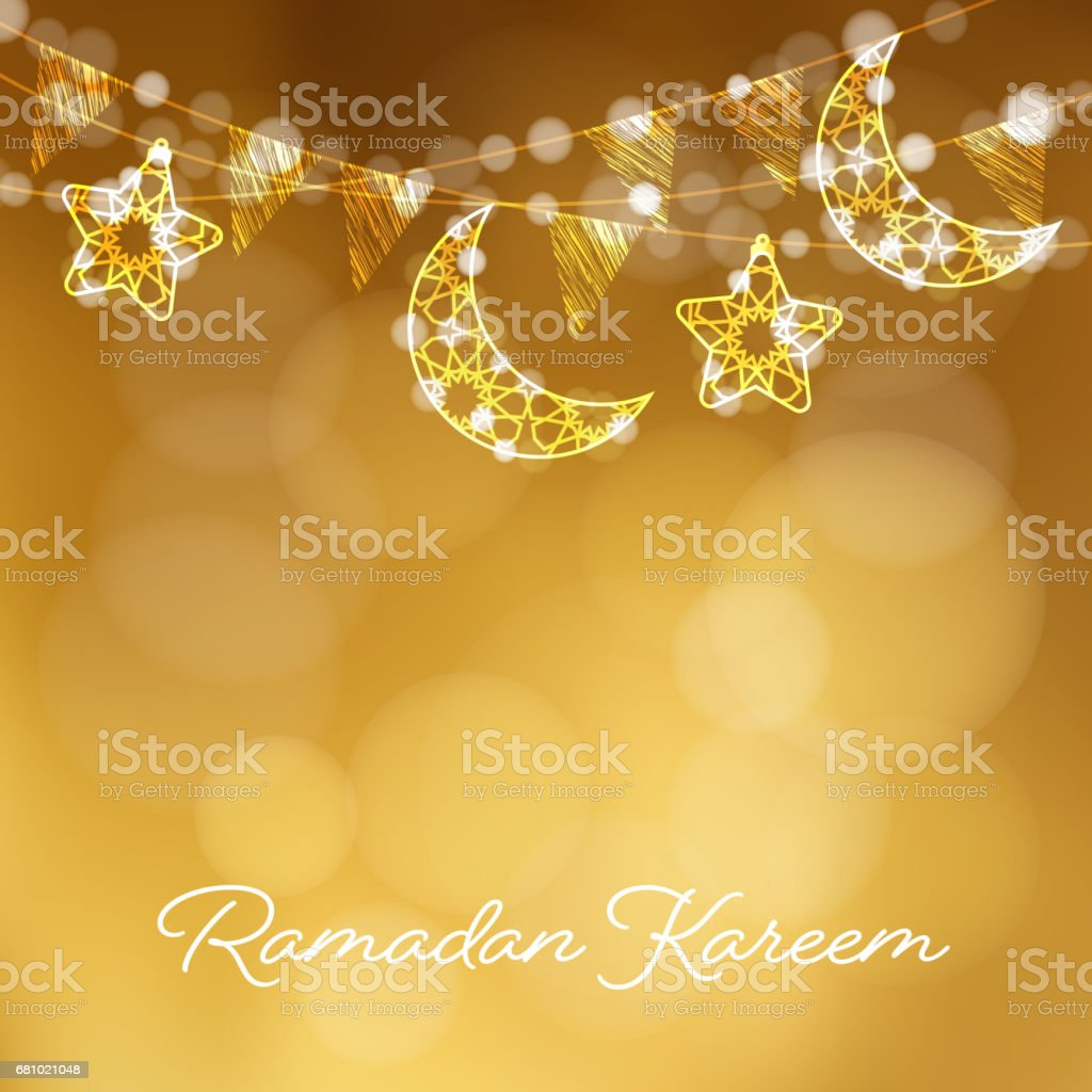 Garlands with decorative moons, stars, lights and party flags. Vector illustration card, invitation for Muslim community holy month Ramadan Kareem. Golden festive blurred background vector art illustration