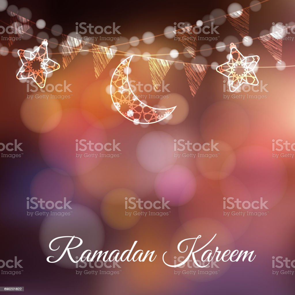 Garlands with decorative moons, stars, lights and party flags. Vector illustration card, invitation for Muslim community holy month Ramadan Kareem. Colorful festive blurred background vector art illustration