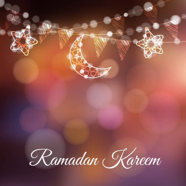 garlands with decorative moons, stars, lights and party flags. vector illustration card, invitation for muslim community holy month ramadan kareem. colorful festive blurred background - ramadan stock illustrations, clip art, cartoons, & icons