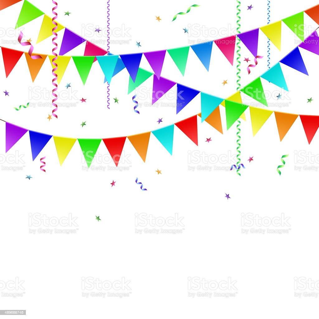 Guirlandes avec drapeaux et cotillons et des confettis cliparts vectoriels et plus d 39 images de - Image cotillons fete ...