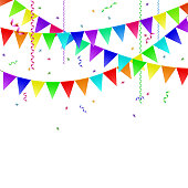 Garlands with flags, streamers and confetti.
