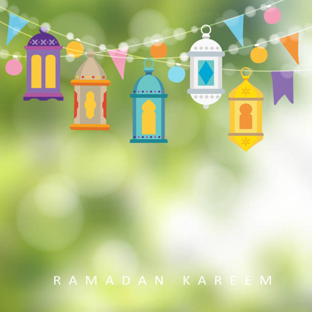 Garlands with hanging colorful lanterns, flags and lights. Greeting card, invitation for muslim holiday Ramadan Kareem. Garden party decoration. Vector illustration, banner with defocused background. vector art illustration