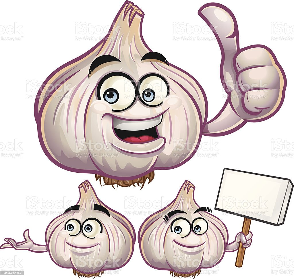Garlic Cartoon Set C royalty-free stock vector art