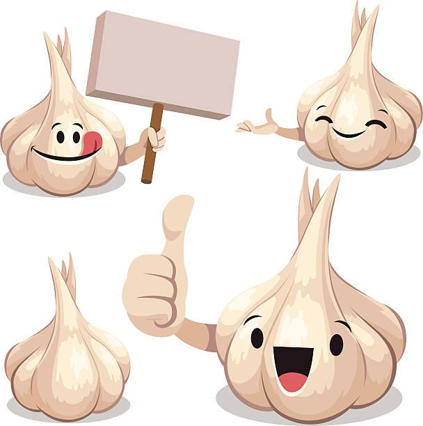 Garlic Cartoon Set C Cartoon garlic set including:  garlic stock illustrations