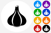 Garlic Icon on Flat Color Circle Buttons