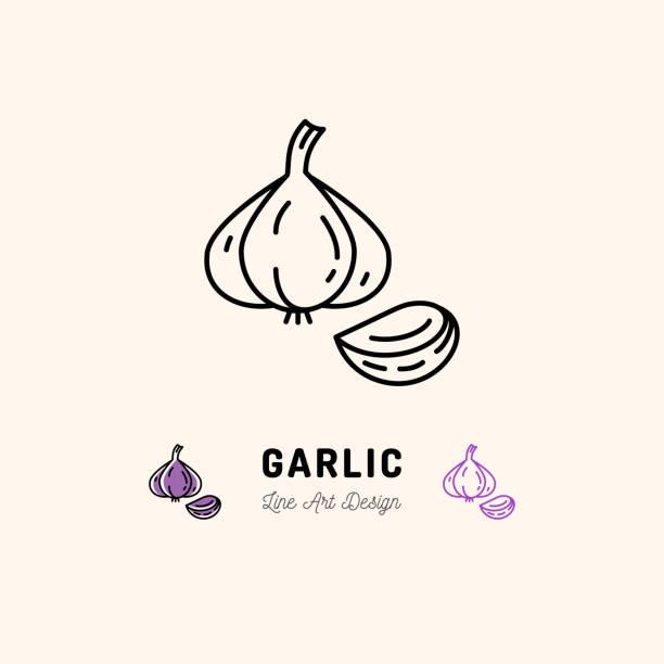 Garlic icon Vegetables  Spice. Thin line art desig Garlic icon Vegetables . Garlic clove, Spice. Thin line art design, Vector outline illustration garlic stock illustrations