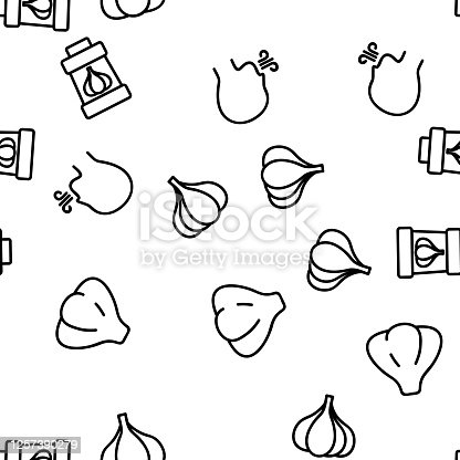 Garlic Spicy Vegetable Vector Seamless Pattern Thin Line Illustration