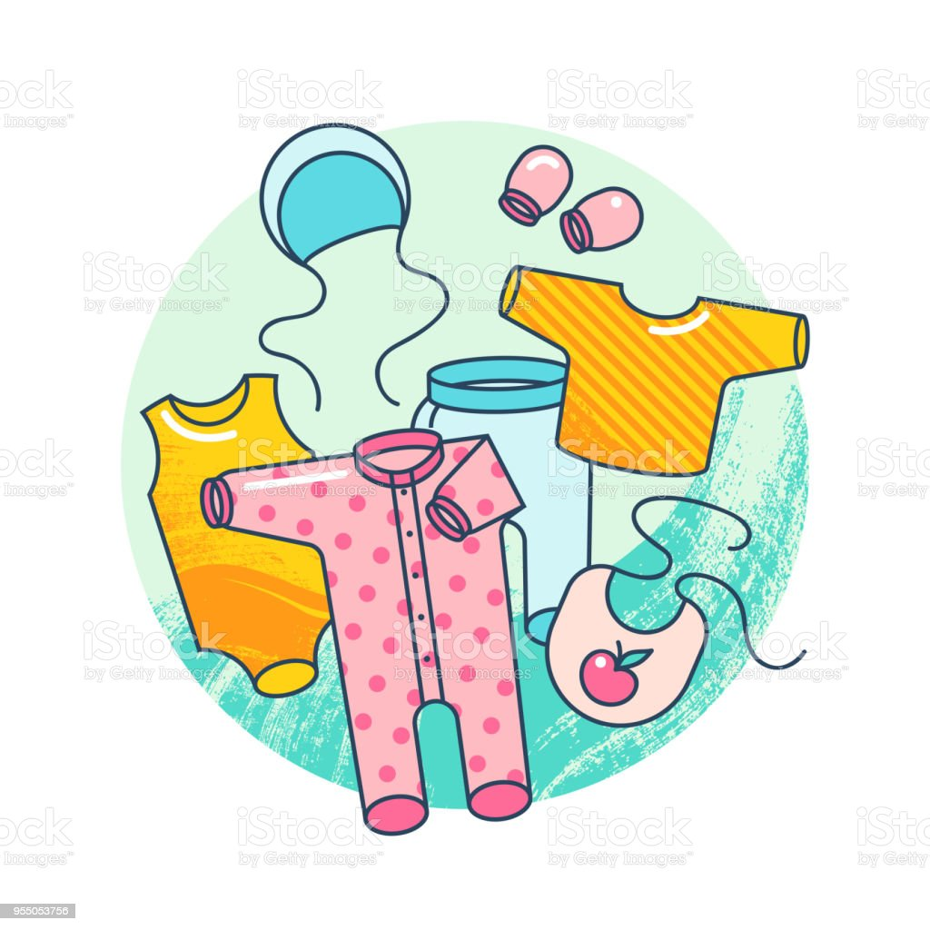 Garments for infant kids. Illustration of baby clothes in flat style isolated on white background. vector art illustration