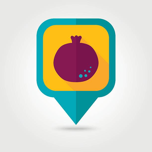Garnet flat pin map icon. Fruit vector art illustration
