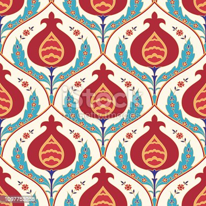 Garnet traditional oriental motif tile seamless pattern