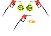 High fuel costs represented with fuel nozzle, dollar sign, Euro symbol and gold bar as alternatives.