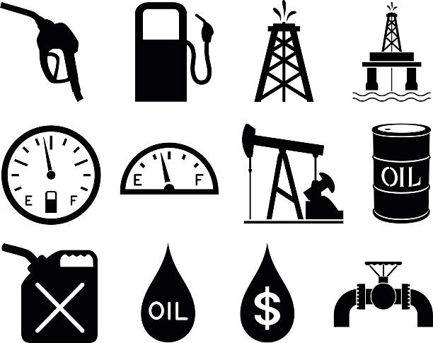 Gas and Oil Icons Vector illustration of a series of twelve gas and oil-themed black and white icons. Each icon is on its own layer, easily separated from the others in a program like Illustrator, etc. Both .ai and AI8-compatible .eps formats are included, along with a high-res .jpg, and a high-res .png with transparent background. oil drum stock illustrations