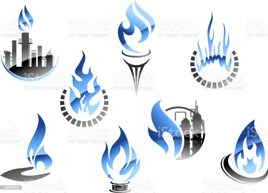 Gas and oil industry symbols royalty-free stock vector art