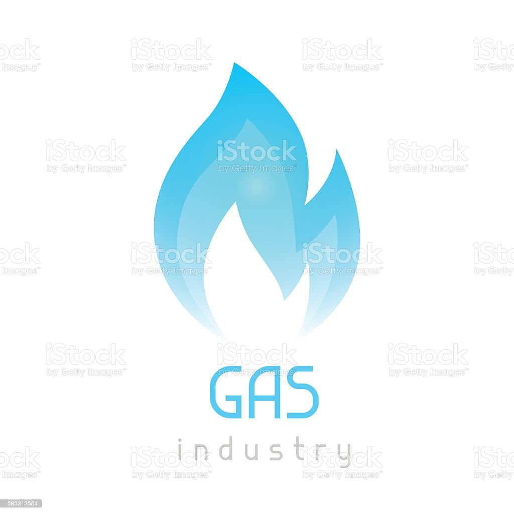 Gas blue flame. Industrial conceptual illustration of fire vector art illustration
