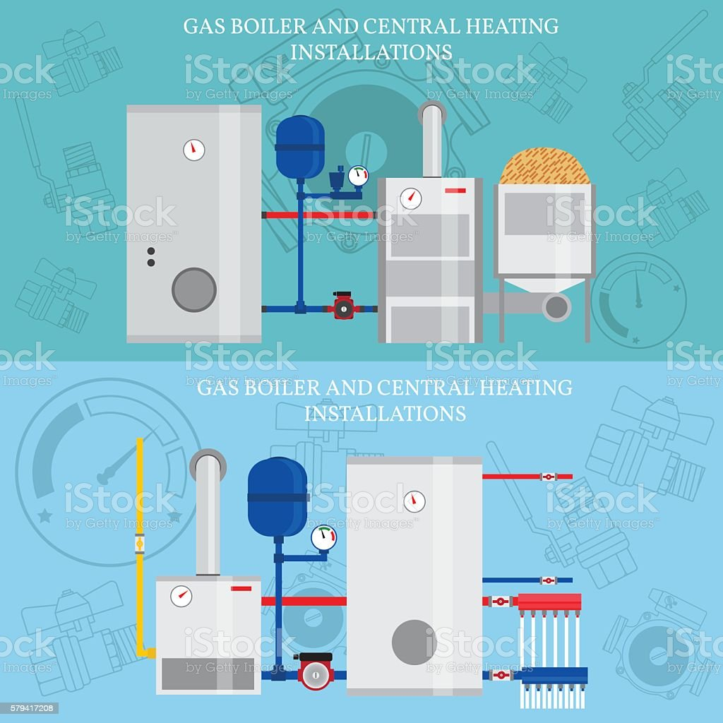 Gas boiler and central heating installations, flat heating conce vector art illustration