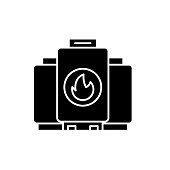 Gas boiler black icon, concept vector sign on isolated background. Gas boiler illustration, symbol
