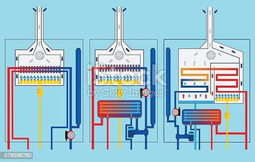 181530805istockphoto Gas boilers set. Condensing boiler. 576598280