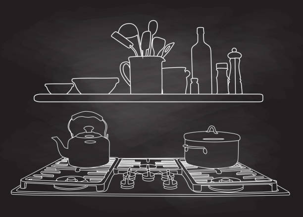 Gas Burner Stove Chalk illustration of a gas stove with cooking tools above on a shelf stove stock illustrations