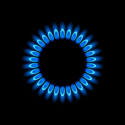 Gas burners with blue flame
