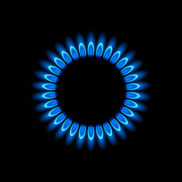 Gas burners with blue flame Vector illustration of gas flame stove stock illustrations