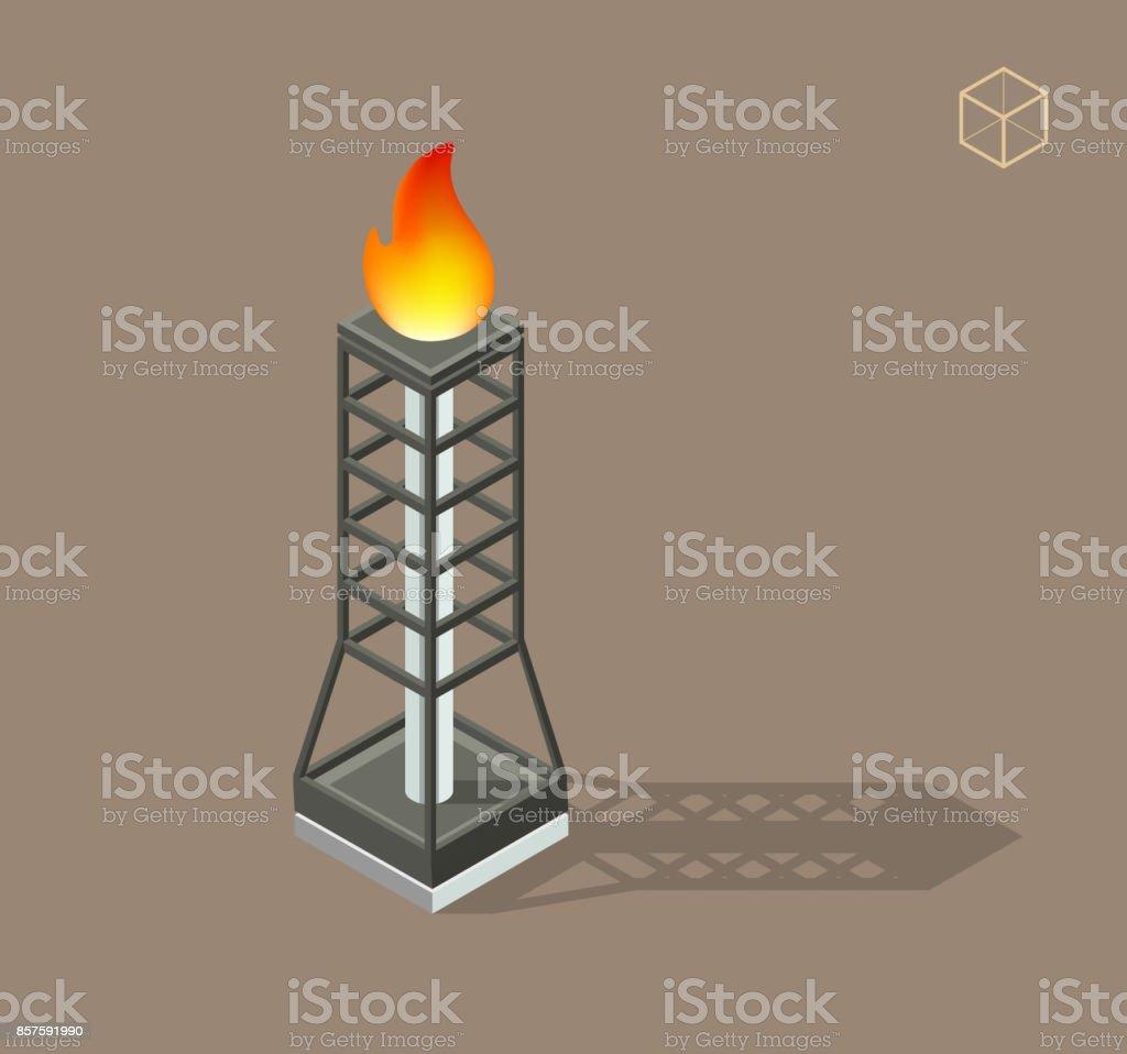 Gas Burn-off Flare Tower vector art illustration