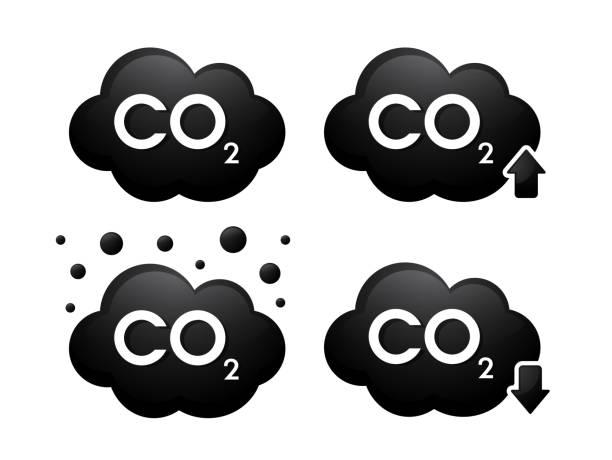 bildbanksillustrationer, clip art samt tecknat material och ikoner med gas cabondioxid (co2) 3d-ikoner. vektor illustration. - co2