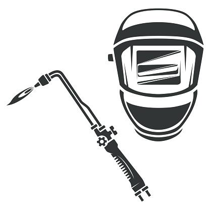 Gas cutter and welding helmet monochrome illustration