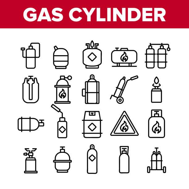 ilustrações de stock, clip art, desenhos animados e ícones de gas cylinder equipment collection icons set vector - inflamável