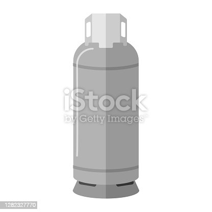 istock Gas cylinder isolated on white background. Contemporary canister fuel storage with handle. Gray propane bottle icon container in flat style 1282327770