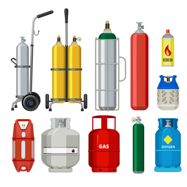 Gas cylinders. Butane helium acetylene propane metal tank cylinder petroleum station tools vector illustrations Gas cylinders. Butane helium acetylene propane metal tank cylinder petroleum station tools vector illustrations. Tank butane and propane, gas cylinder cylinder stock illustrations