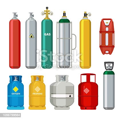 Gas cylinders icons. Petroleum safety fuel metal tank of helium butane acetylene vector cartoon objects isolated. Equipment for safe butane and propane, oxygen balloon illustration