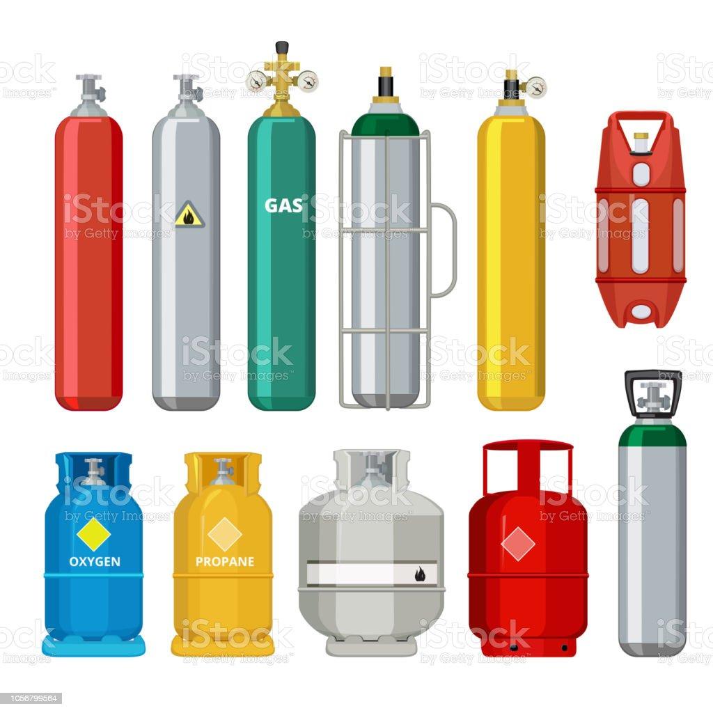 Gas-Zylinder-Symbole. Petroleum Sicherheit Metall Kraftstofftank Helium Butan Acetylen Cartoon Vektorobjekte isoliert – Vektorgrafik
