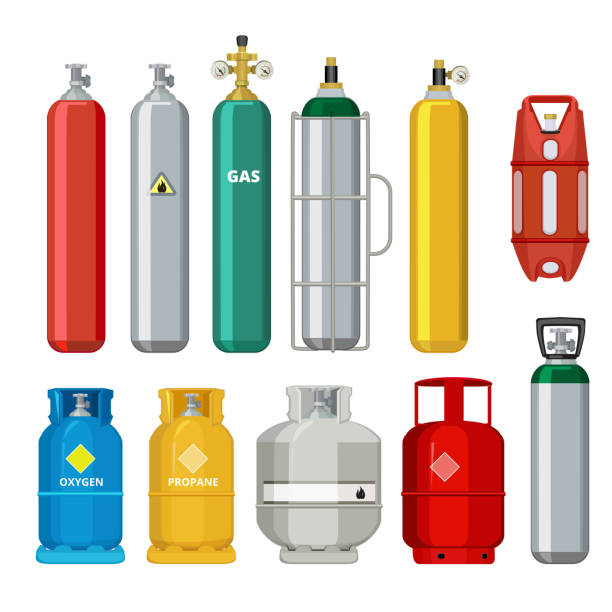 Gas cylinders icons. Petroleum safety fuel metal tank of helium butane acetylene vector cartoon objects isolated Gas cylinders icons. Petroleum safety fuel metal tank of helium butane acetylene vector cartoon objects isolated. Equipment for safe butane and propane, oxygen balloon illustration cylinder stock illustrations