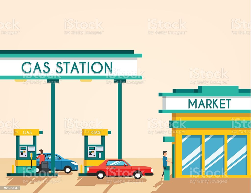 Gas filling station. Energy. Vector flat illustration vector art illustration