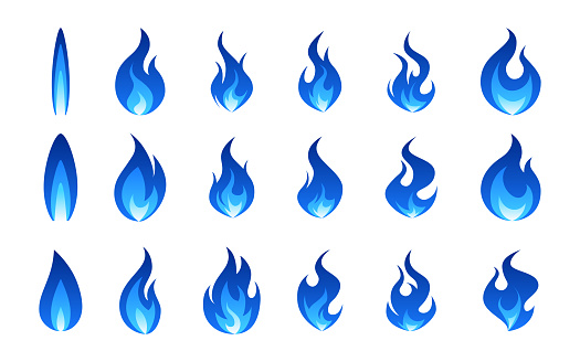 Gas flame icon. Blue fire pictogram set. Vector illustration isolated on a white background in flat style.